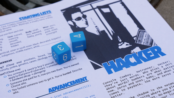Hacker player sheet with two blue dice